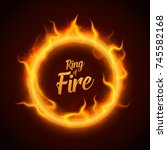 vector ring of orange fire with ... | Shutterstock .eps vector #745582168