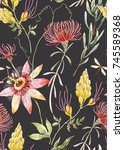 Stock photo watercolor tropical pattern with exotic australian flowers proteus yellow flowers red flowers 745589368