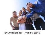 college students teamwork... | Shutterstock . vector #745591048
