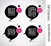 black sale banner set  bubble... | Shutterstock .eps vector #745592185