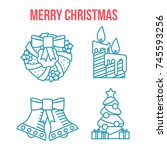 cristmas linear flat icons.... | Shutterstock .eps vector #745593256