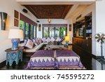 luxury villa living room...   Shutterstock . vector #745595272