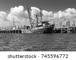 old rusted fishing boat. rusty... | Shutterstock . vector #745596772