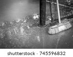 tennis court after rain. tennis ... | Shutterstock . vector #745596832