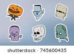halloween sticker pack. zombie  ... | Shutterstock . vector #745600435