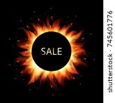 fiery sales. black friday sale.... | Shutterstock .eps vector #745601776