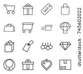 thin line icon set   cart  gift ... | Shutterstock .eps vector #745602022