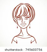 line drawing portrait of a... | Shutterstock .eps vector #745603756