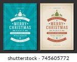 christmas party invitation... | Shutterstock .eps vector #745605772