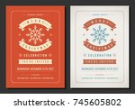 christmas party invitation... | Shutterstock .eps vector #745605802