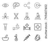 thin line icon set   eye  brain ...   Shutterstock .eps vector #745607602