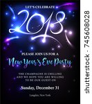 new years 2018 invitation with... | Shutterstock .eps vector #745608028