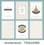 merry christmas greeting cards... | Shutterstock .eps vector #745610485
