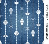 denim background with christmas ... | Shutterstock .eps vector #745614616