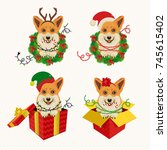 corgi heads in deer antler... | Shutterstock .eps vector #745615402