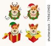 corgi heads in deer antler... | Shutterstock .eps vector #745615402