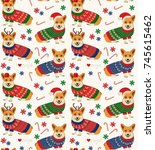 seamless christmas pattern with ... | Shutterstock .eps vector #745615462