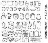 hand drawn vector set with... | Shutterstock .eps vector #745615786