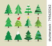 different christmas tree set ... | Shutterstock .eps vector #745620262