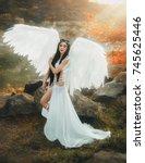 a beautiful white archangel... | Shutterstock . vector #745625446