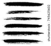 set of grunge stroke halftone... | Shutterstock .eps vector #745625602
