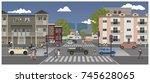 a crossroads of city. vector... | Shutterstock .eps vector #745628065