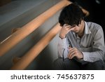 business man is stressed from... | Shutterstock . vector #745637875