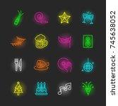 party neon icon set  vector... | Shutterstock .eps vector #745638052