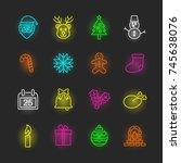 christmas neon icon set  vector