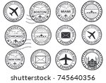 tourist stamps and postmarks.... | Shutterstock .eps vector #745640356