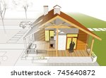 country house  terrace with...   Shutterstock . vector #745640872