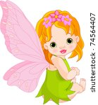 Sitting Cute Baby Fairy