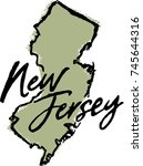 hand drawn new jersey state... | Shutterstock .eps vector #745644316