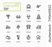 travel   line design icons set. ... | Shutterstock .eps vector #745645822