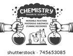 chemistry retro poster   hands... | Shutterstock .eps vector #745653085