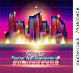new retro wave background.... | Shutterstock .eps vector #745655656