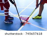 children playing floorball. the ... | Shutterstock . vector #745657618