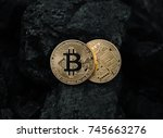 bitcoin is a gold coin. the... | Shutterstock . vector #745663276
