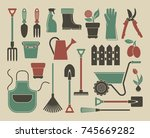 garden tools  the equipment and ... | Shutterstock .eps vector #745669282