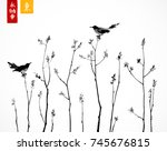 two black birds on trees... | Shutterstock .eps vector #745676815