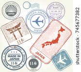 travel stamps set japan and... | Shutterstock .eps vector #745677382