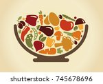 images of vegetables and... | Shutterstock .eps vector #745678696