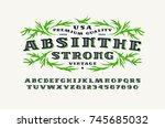 ornate serif font in retro... | Shutterstock .eps vector #745685032