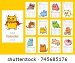 calendar 2018. cute cats for... | Shutterstock .eps vector #745685176