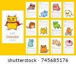 calendar 2018. cute cats for... | Shutterstock .eps vector #745685176