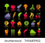 icons of vegetables and fruit.... | Shutterstock .eps vector #745685902