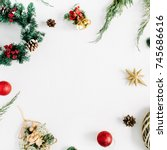 frame made of christmas... | Shutterstock . vector #745686616