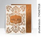 vector wedding card laser cut...   Shutterstock .eps vector #745687018