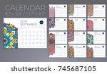 calendar 2018. vintage... | Shutterstock .eps vector #745687105