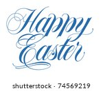 happy easter script vector hand ... | Shutterstock .eps vector #74569219